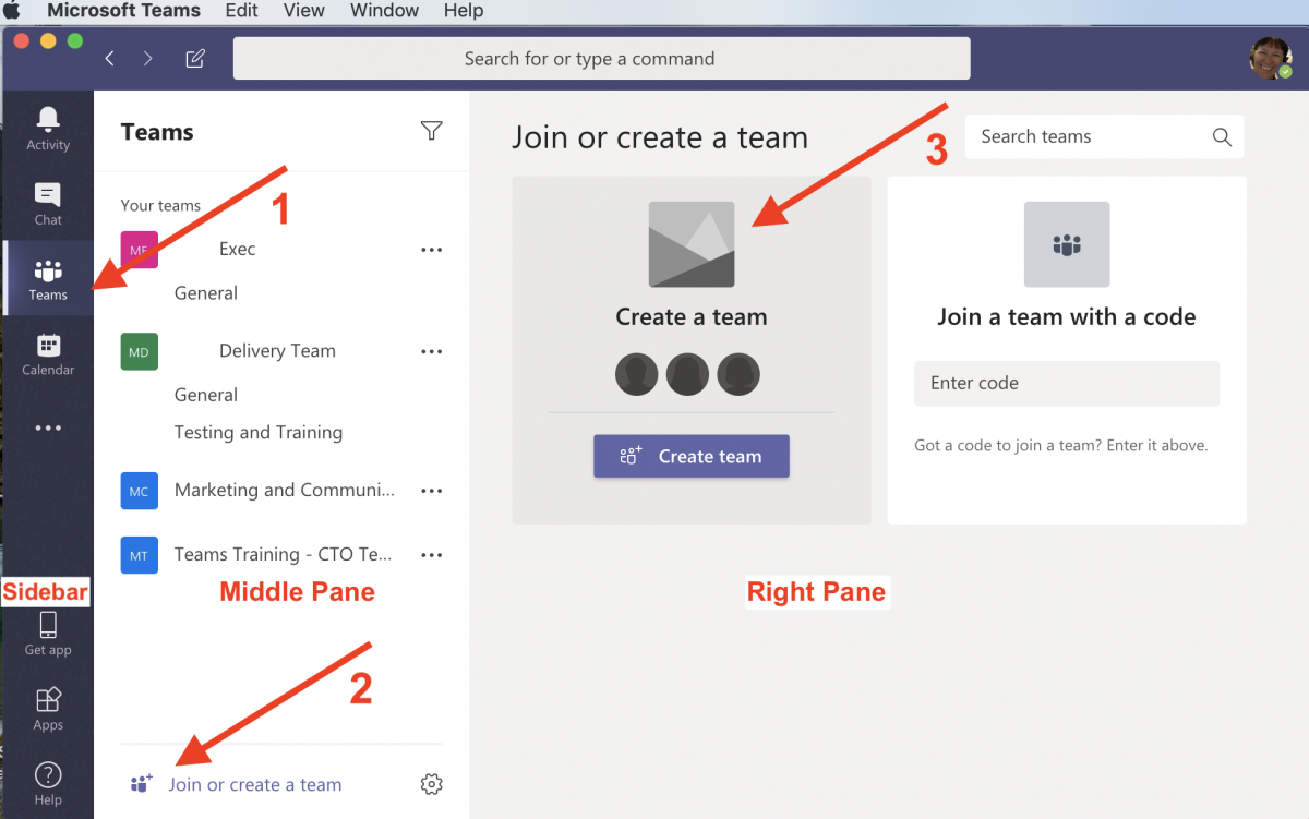 Image to Create a new Team in Microsoft Teams