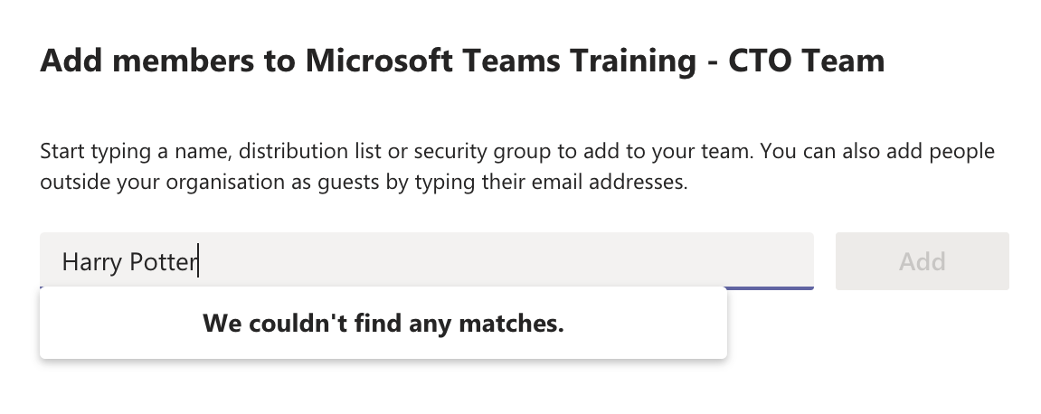 Add Team members to Microsoft Teams