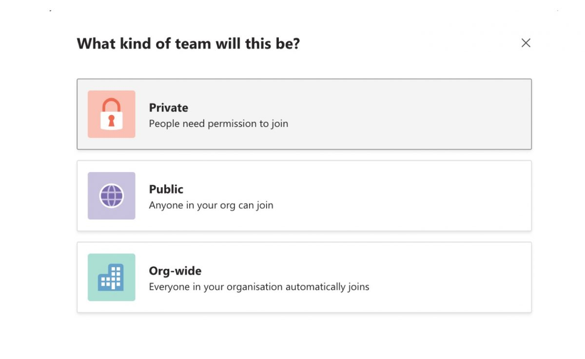 Set up a Private Team in Microsoft Teams